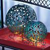 2 Round Metal LED Solar Lanterns